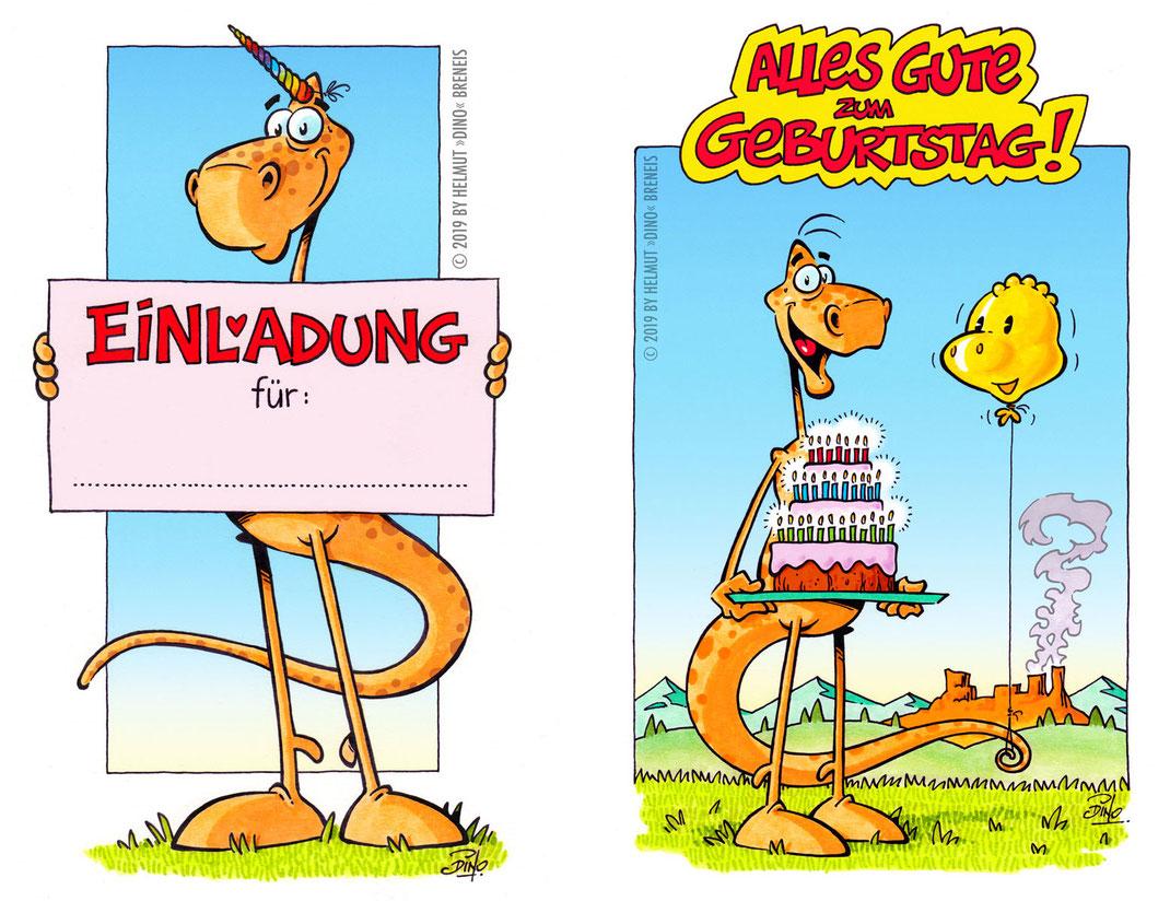 Dino-Blog, Helmut »Dino« Breneis, Dinos, Geburtstag, Einladung, Cartoon, Copic, Tusche