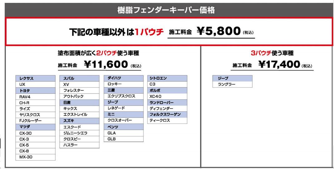 洗車 松山 新車コーティング 代替えコーティング キーパー フェンダーコーティング