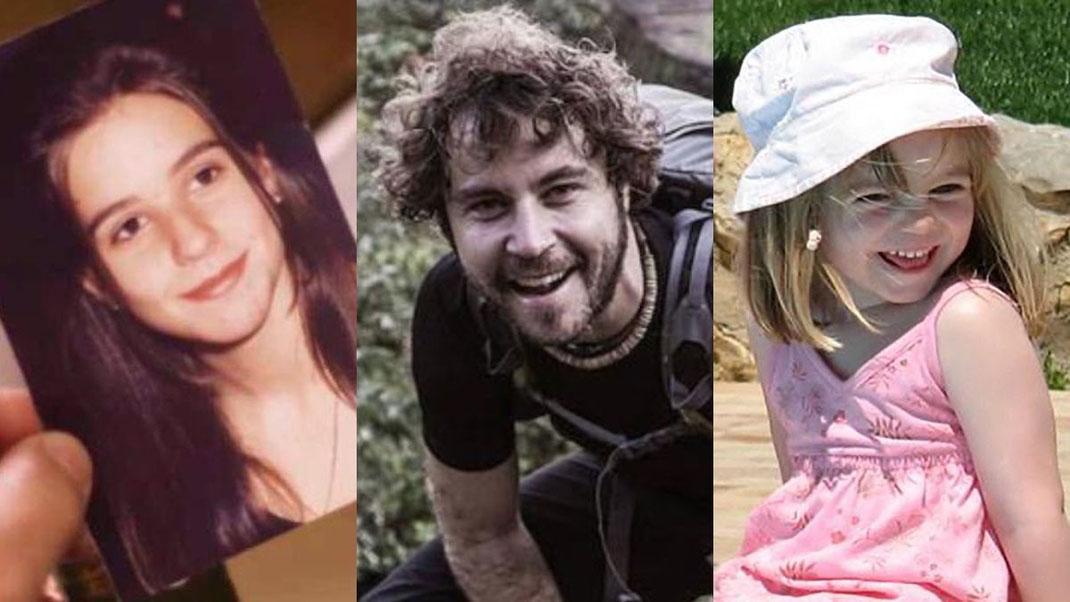 Los desaparecidos Cristina Bergua, Borja Lázaro y Madeleine McCann.