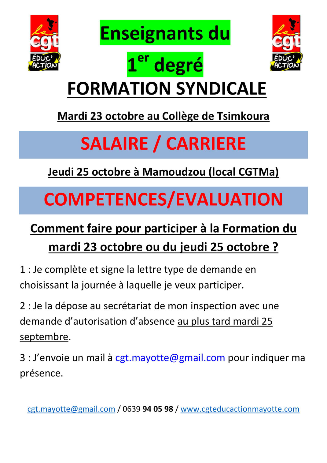 Salaire Enseignant Calendrier.Info 1er Degre Cgt Educ Action Mayotte