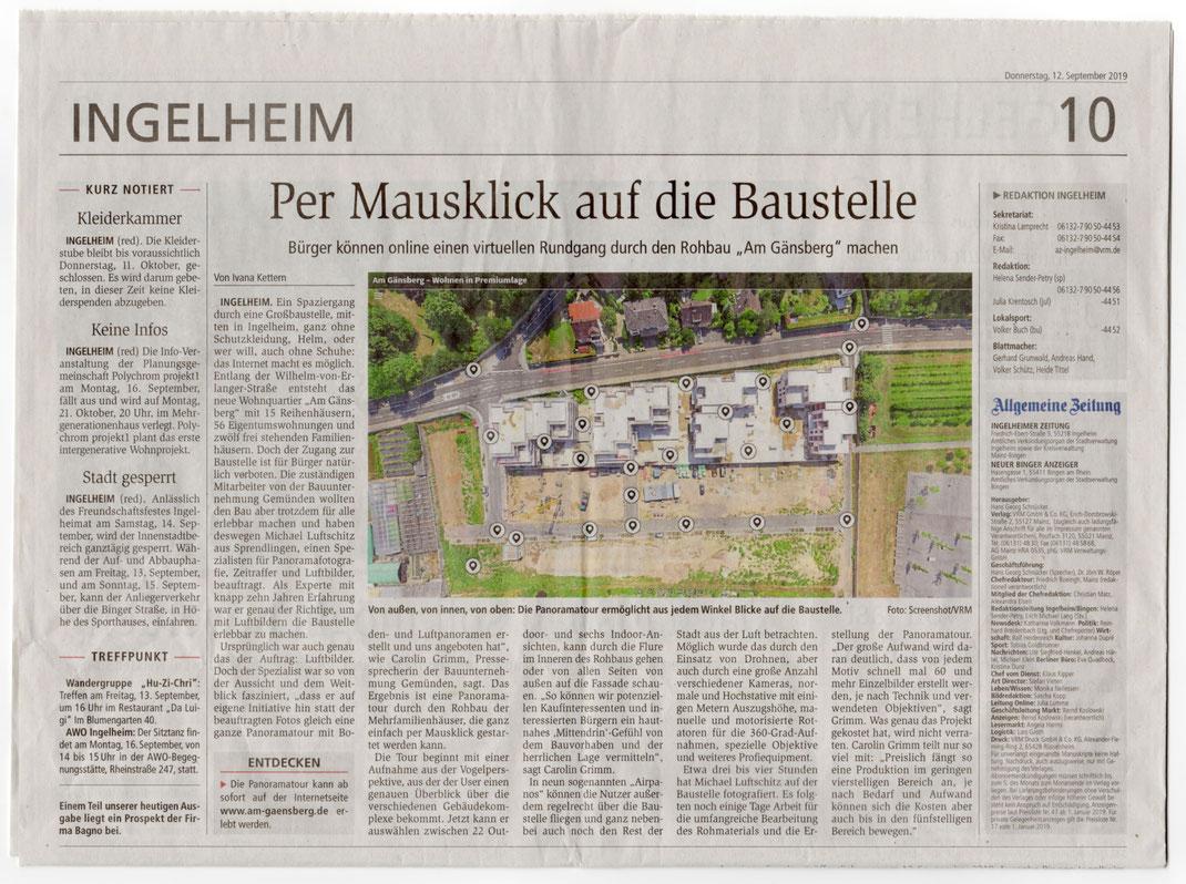 Artikel der Allgemeinen Zeitung vom 12.09.2019 über die Baustelle Am Gänsberg in Ingelheim