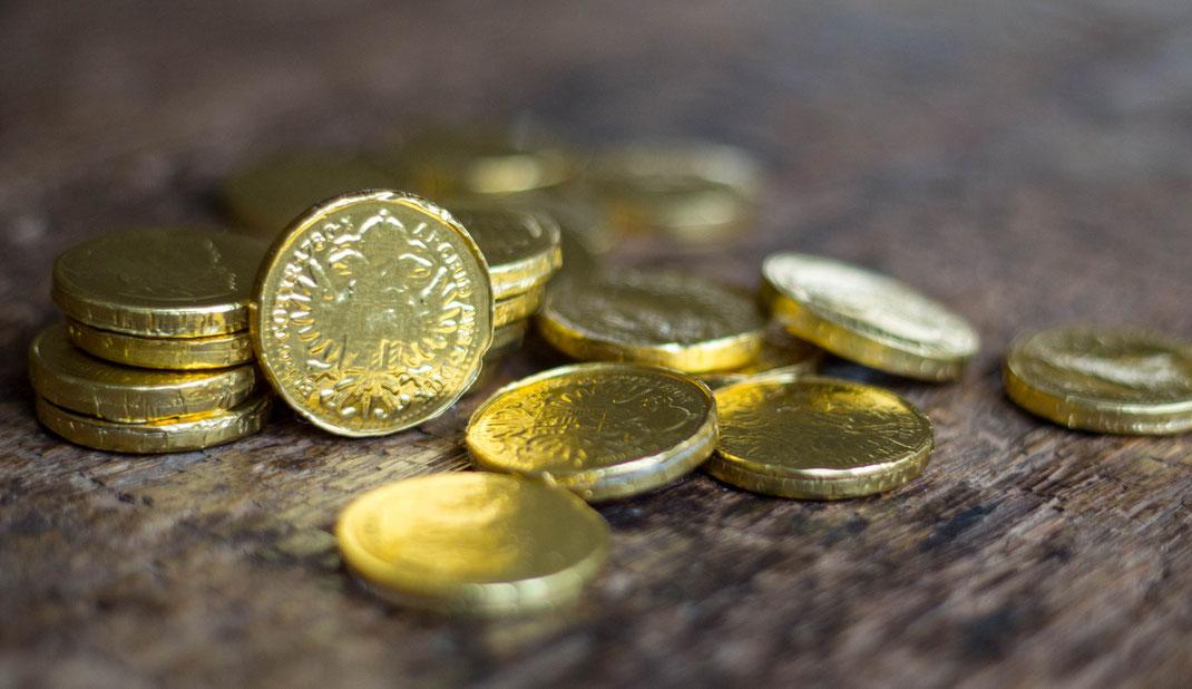 Goldschatz für die Schatzsuche auf dem Kindergeburtstag