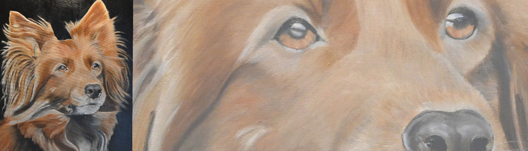 Schilderij van honden en katten.