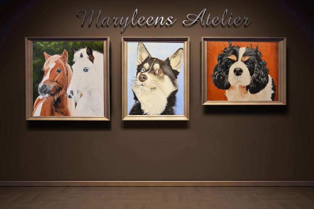Portretschilderij huisdier door Maryleen van Vliet geschilderd