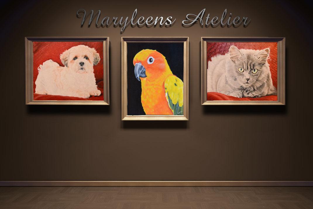 hondenportretschilderij en katten portret, huisdieren in olieverf.