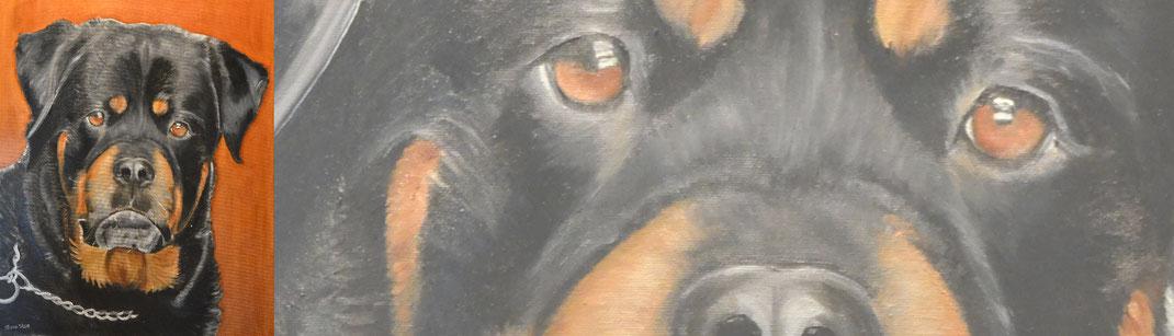Hond op schilderij laten zetten.