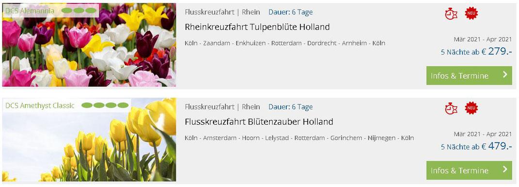 Flusskreuzfahrten Ostern 2021 zur Tulpenblüte Holland Osterurlaub Rheinkreuzfahrten mit Amsterdam, Tulpenblüte 2021