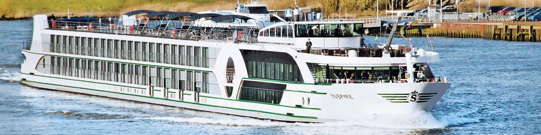 Visa Flusskreuzfahrten mit MS Inspire auf dem Rhein bis Basel bzw. Düsseldorf bis Amsterdam oder umgekehrt (c) Foto VIVA Cruises Düsseldorf