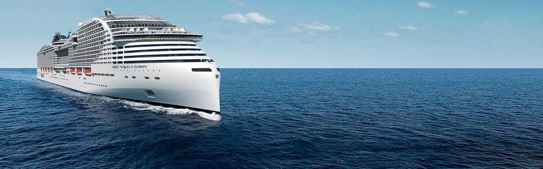 Modellbild der neuen MSC World Europa (c) MSC Cruises - Kreuzfahrten ab/bis Dubai incl. Fluganreise, Transfer und großer Kabinenauswahl an Bord.