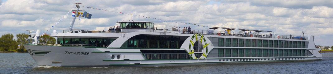 Visa Flusskreuzfahrten mit MS Treasures  auf der Donau bis Budapest Wien Bratislava, Rhein bis Basel bzw. Köln Düsseldorf bis Amsterdam oder umgekehrt (c) Foto VIVA Cruises Düsseldorf