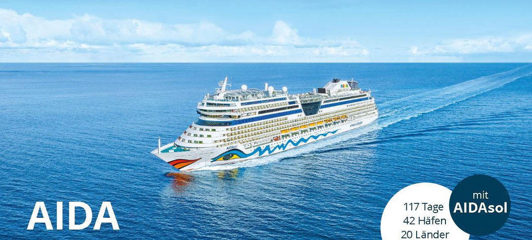 Aidasol jetzt Aida Weltreise 2021/2022 bei uns im Kreuzfahrtbüro mit Frühbucherermässigung buchbar