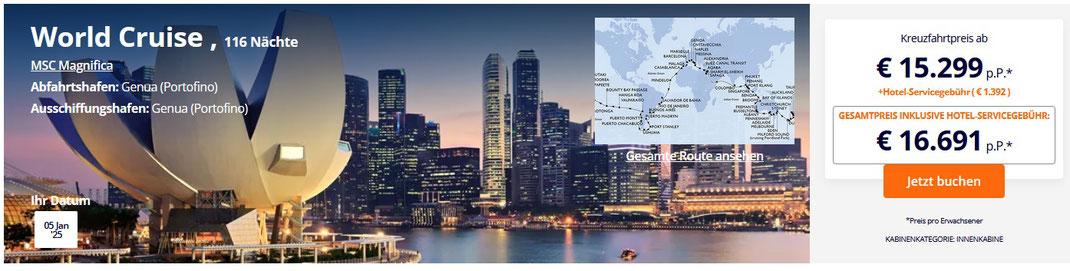 MSC Magnificia Weltreise 2023 direkt online buchen im Reisebüro Reiselotsen cruise & tours e.K.