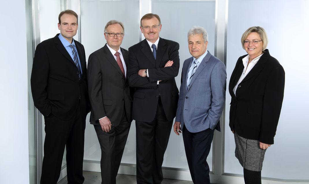 Ferdinand Weißbrod, M.Eng., Prof. Dr.-Ing. Manfred Keuser, Dipl.-Ing. Harald Weißbrod,    Prof. Dr.-Ing. Wolfgang Baltzer und Aufsichtsrätin Dipl.-BW Nadja Weißbrod