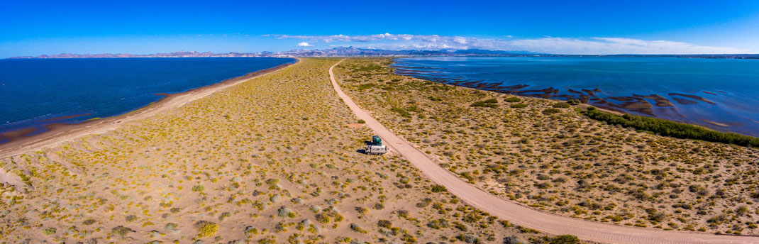 Schlafplatz auf der Penisula Mogote, Walhaie La Paz, Baja California Mexiko