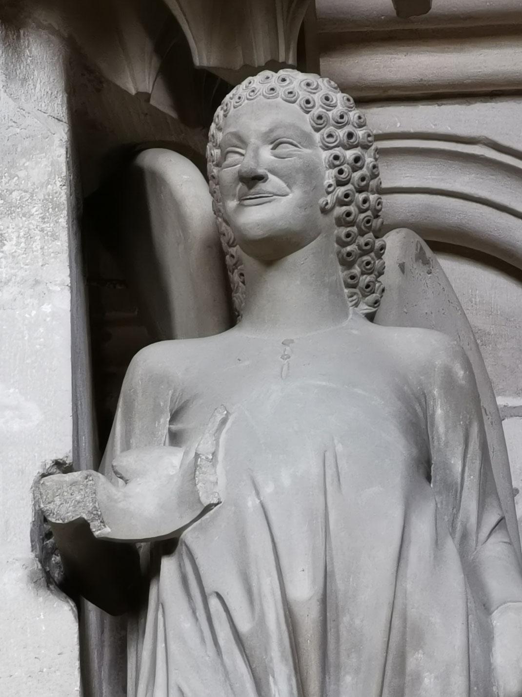 Mittelalterliche Skulptur in Bamberg, Bamberger Lächeln, Sandstein, Grüner Mainsandstein, Gotik, Hochgotik, Unbekannte Bildhauer