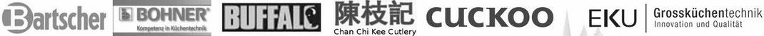 Wir vertreiben Waren von Bartscher, Bohner, Buffalo, Chan Chi Kee (CCK), Cuckoo und EKU Großküchentechnik