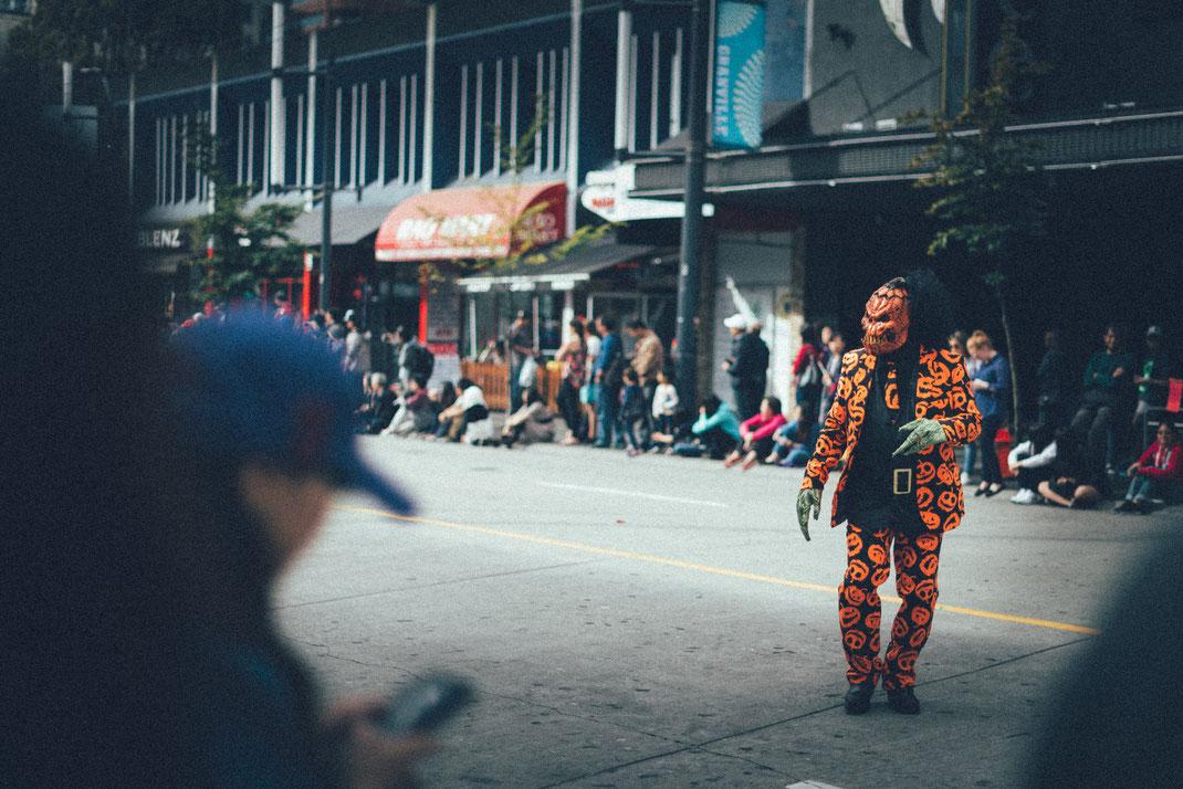 Jack O'Lantern walking on a Halloween parade