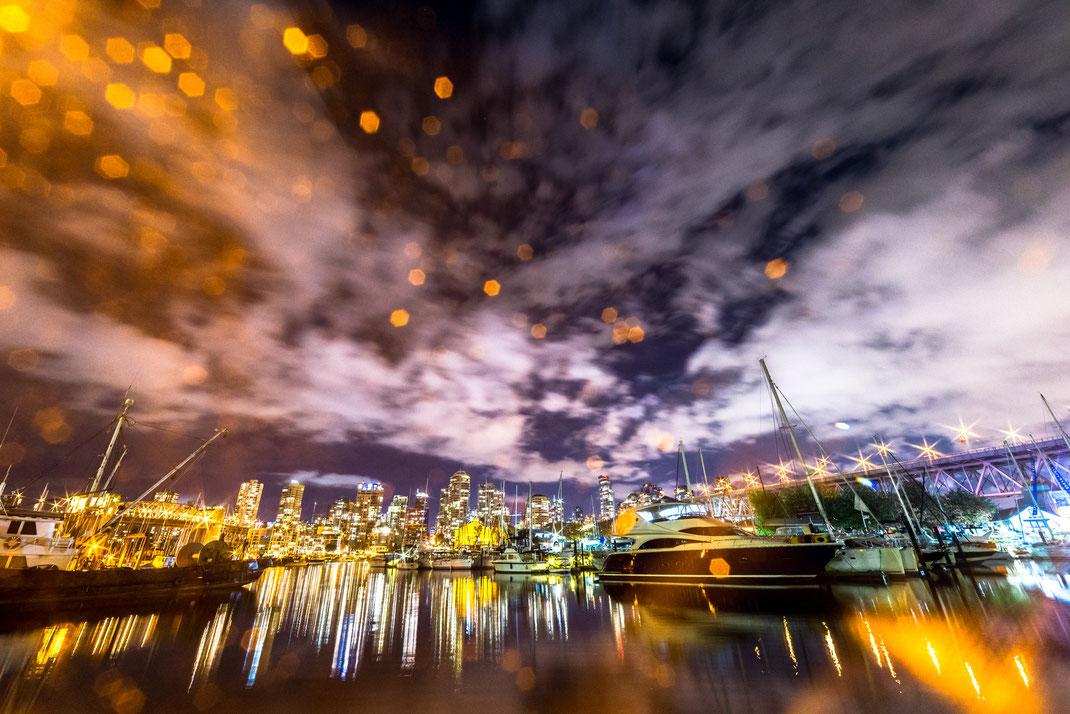 False Creek harbour illuminated at night