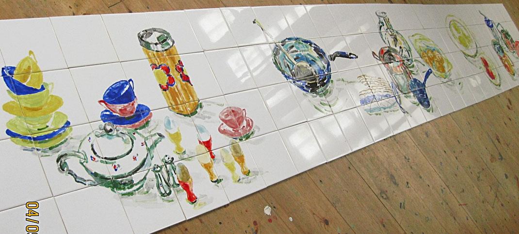 tegeltableau van 100 tegels 15x15 cm, ook op te delen in meerdere tableaus. Enige in zijn soort! Op te delen in 4 tableaus, indien gewenst.