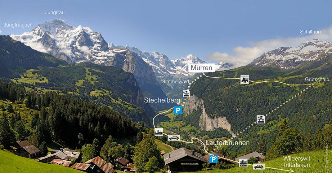 Panoramakarte Lauterbrunnental und Mürren