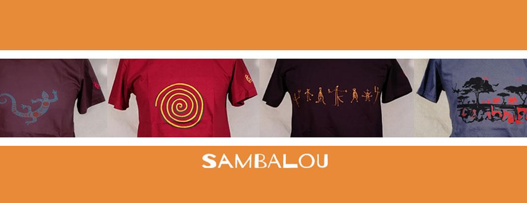 Sambalou photo accueil site , T-shirt 100% coton biologique artisanat belge , créativité qualité collection original et colorée