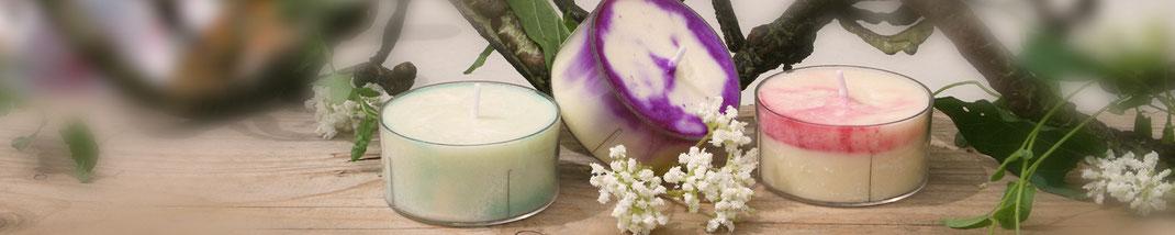 Lichtgarten Licht-Garten Kerzen Teelichter Jumboteelichter Jumbo-Teelichter Simone Fischer Natur Minze Hopfen Lavendel Rose Salbei