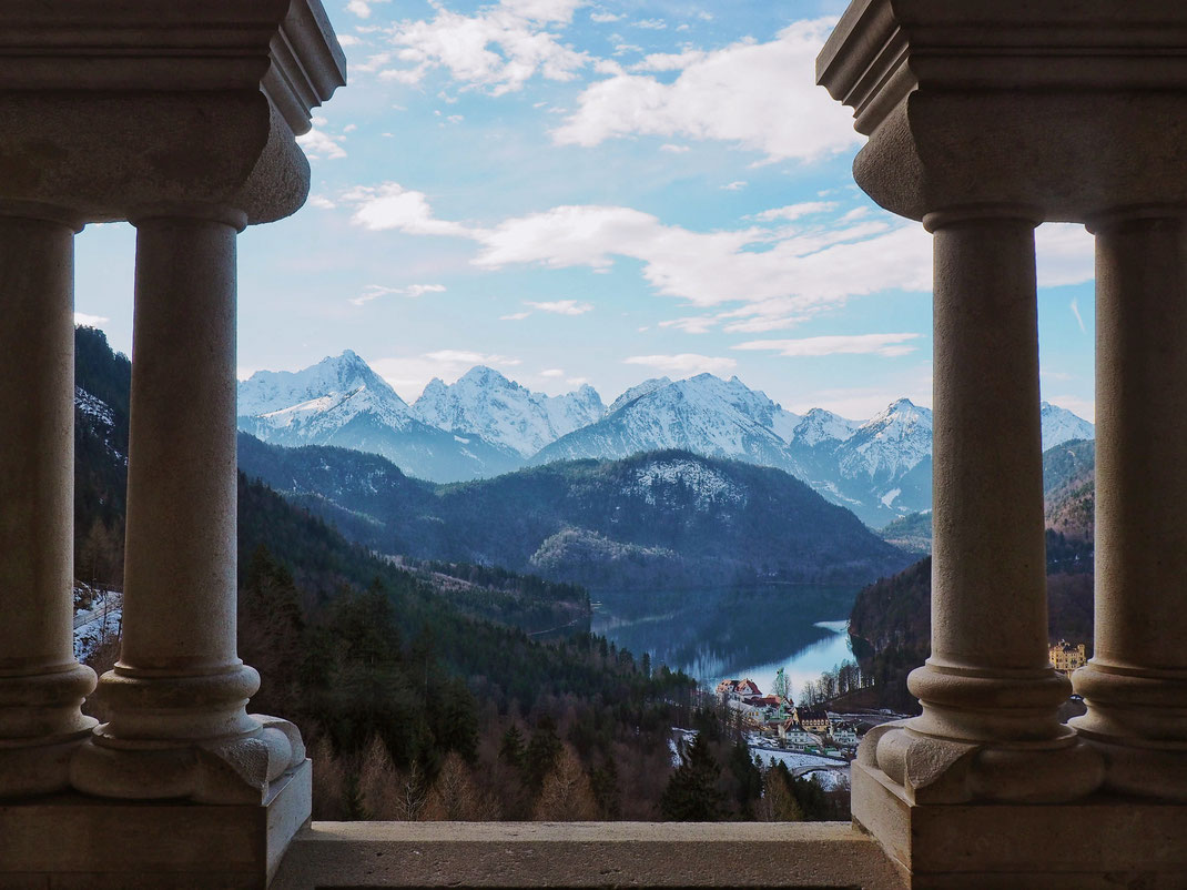 The view of the Alpsee from the inside of the castle