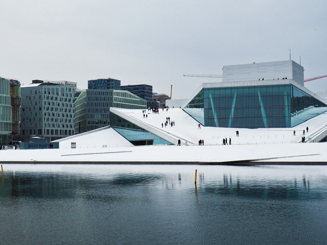 Oslo, Opera House, Outside, View, Architecture, Snow, Winter