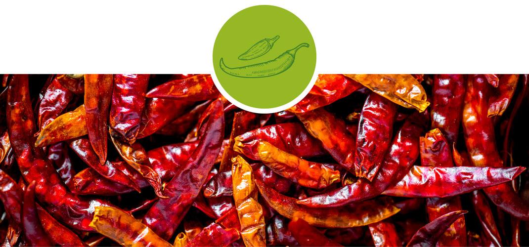 Chili; Cayenne; scharf; mild; geschrotet; Vogelaugenchili