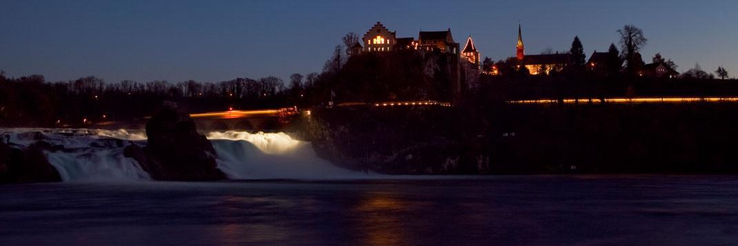 Schloss Laufen, Rheinfall, bei nacht, langzeitbelichtung, neuhausen, fotografieren, lernen, nurdeinfotokurs