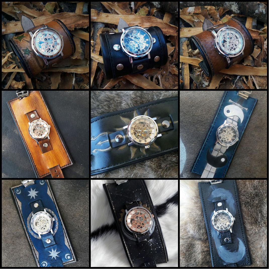 montre mécanique bracelet de force cuir personnalisé