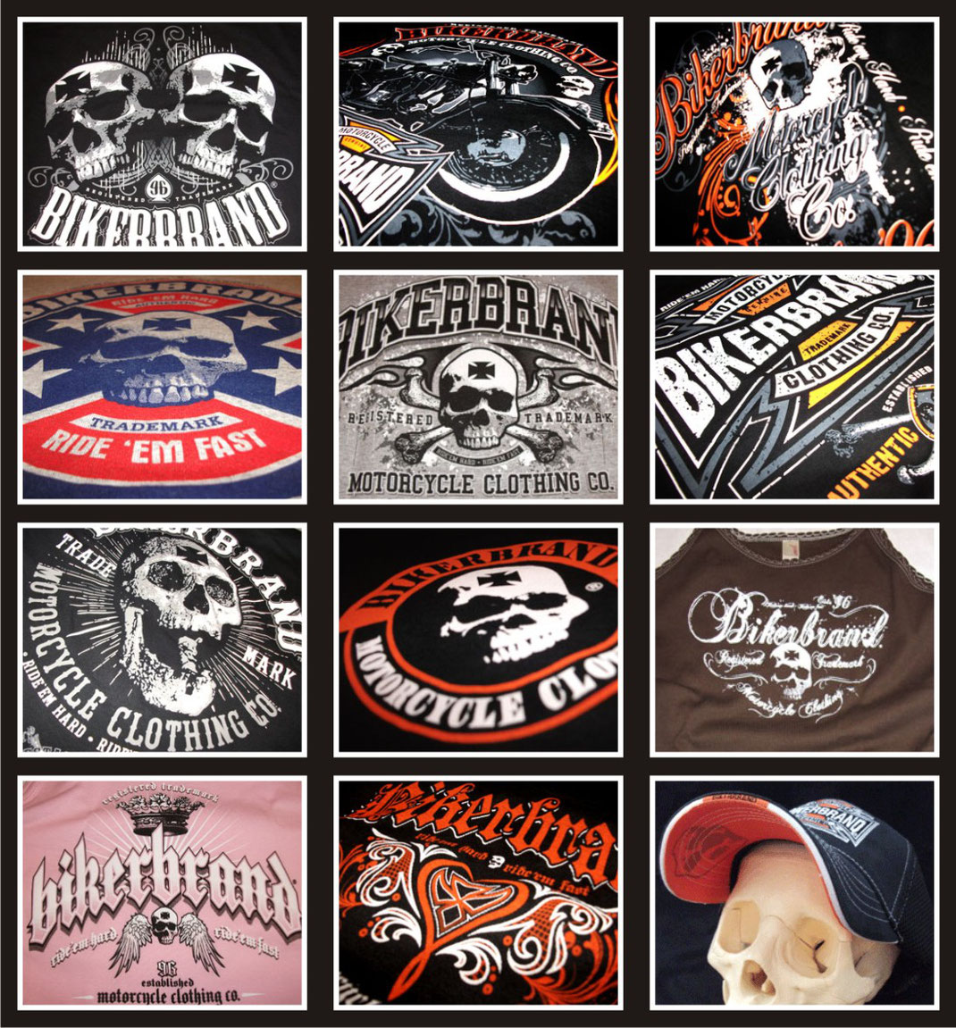 Bikerbrand t-shirt, collage