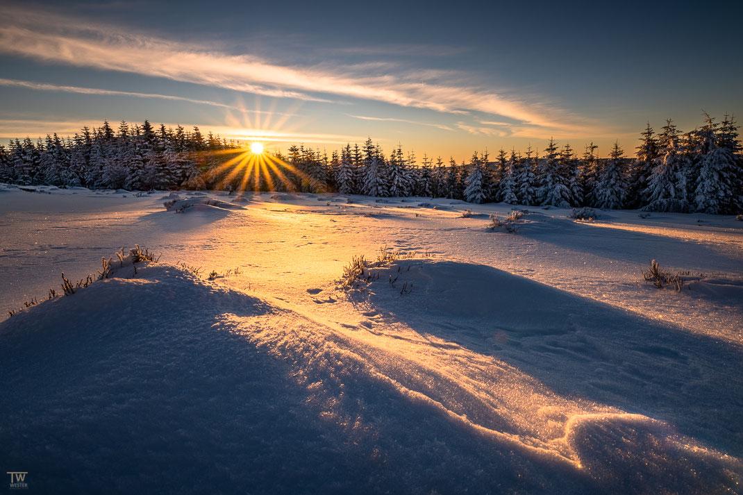 Die ersten Sonnenstrahlen fallen auf die Hochheide (B2498)
