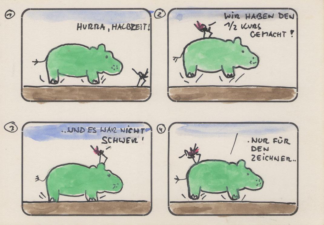 UFF, ja Halbzeit. Deutsche Sprach, lange Sprach. Erst mal Pause.