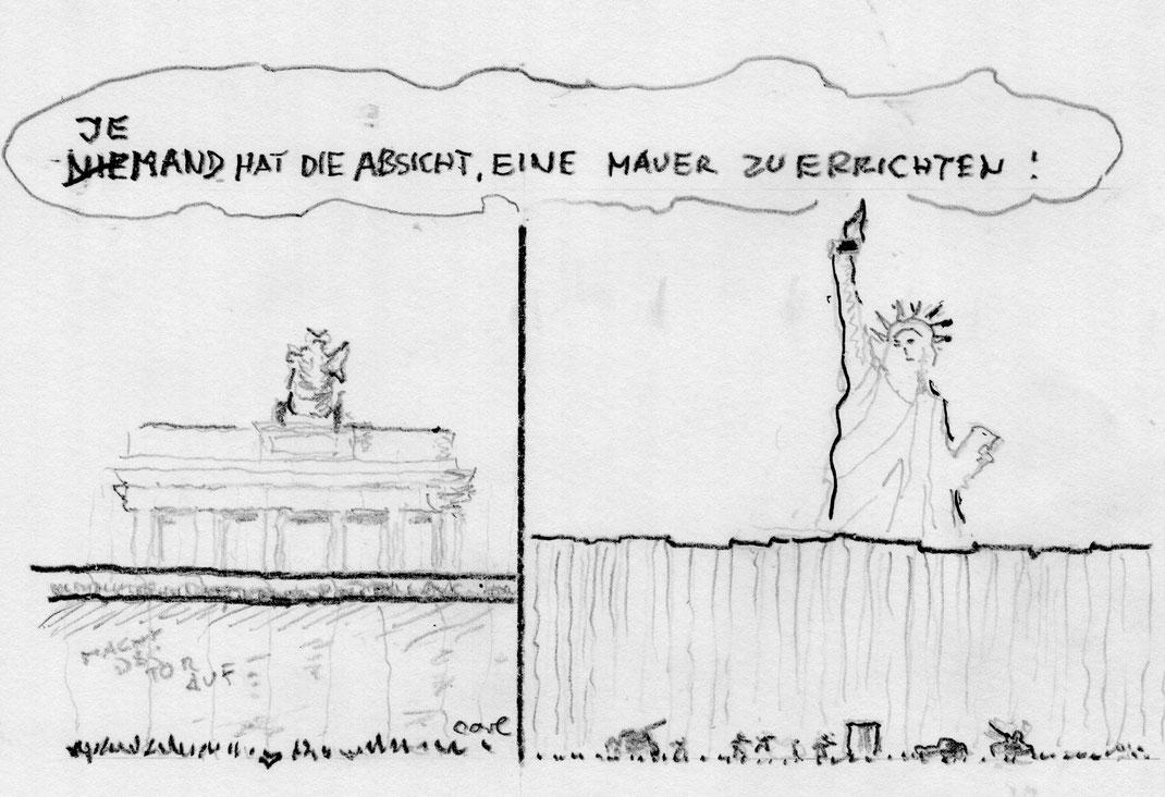 Mauerbau von Honnecker (Berlin) und Donald Trump (Washington)