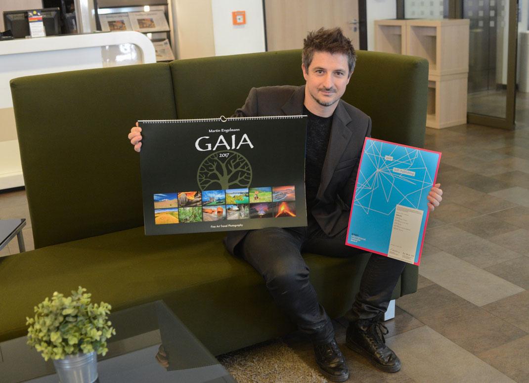 """GAIA wurde bereits drei Mal mit dem renommierten internationalen Kalenderpreis, dem """"GREGOR INTERNATIONAL CALENDAR AWARD"""" in der Kategorie """"self publishing"""" ausgezeichnet."""