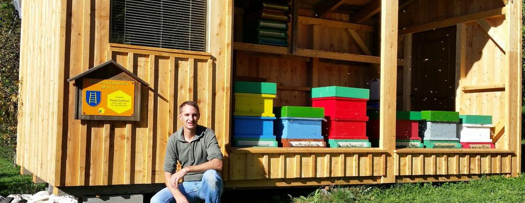 Die Bienenhütte wurde mit Lärchenholz verkleidet, bietet für 6 Völker Platz, beinhaltet einen eigenen Arbeitsraum und dient vorwiegend als Materiallager.