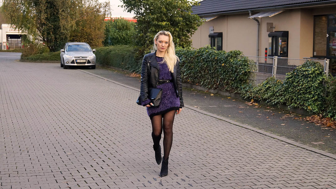Fashion is my Passion   Hot Port Life & Style Personal Streetstyle   Strickkleid von Asos   Lederjacke von Zara