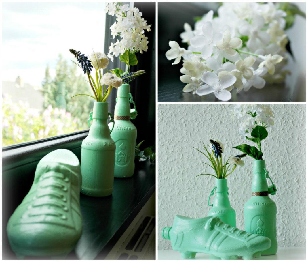 MINT Vasen DIY | Deko Inspiration | Fertige Mint Vasen aus Glasflaschen hergestellt