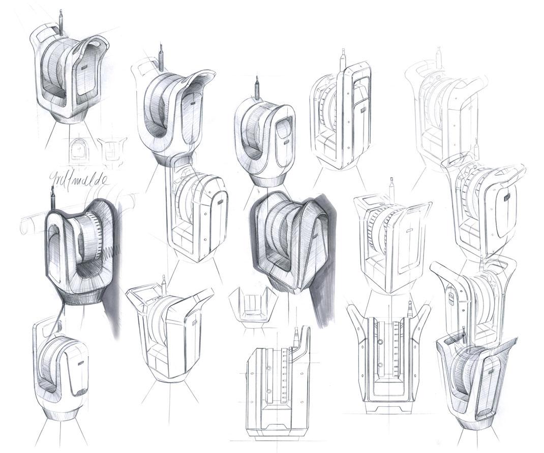 Trimble X7, 3D Laserscanner, Industriedesign, Ideation, Usabilitykonzepte, Skizzen, Visualisierung