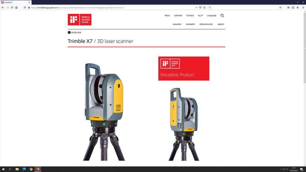 Trimble X7, 3D Laserscanner, Industriedesign, Ideation, Usability, if Design Award 2021, Winner, ART-KON-TOR Agenturgruppe