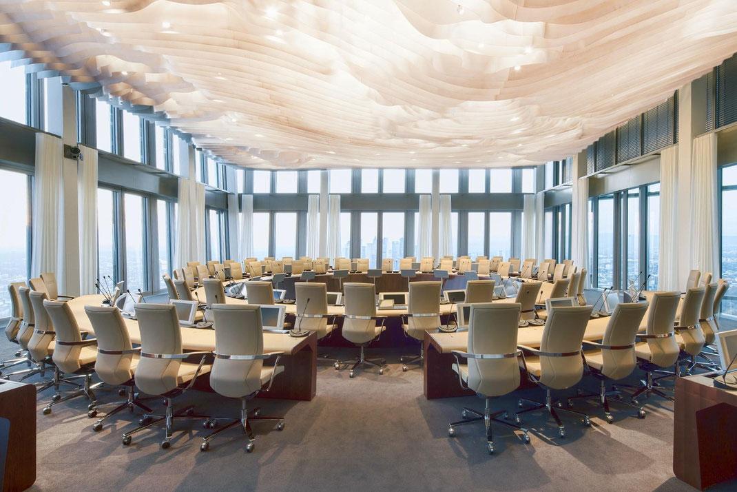 Züco Duca Re, Drehstuhl, Drehsessel, EZB, Europäische Zentralbank, COOP Himmelblau, Design