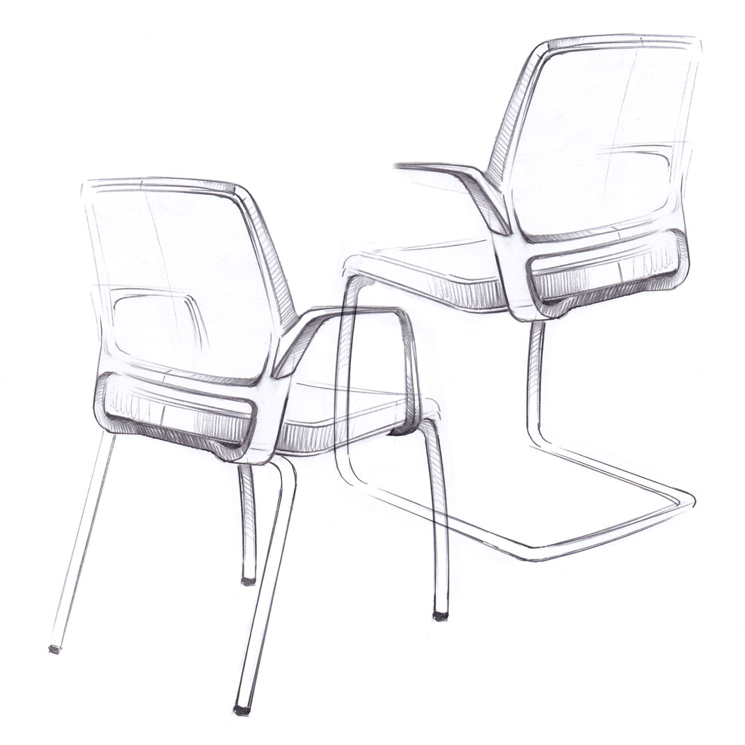Comfordy, side chair, Netz, Slimpolster, swivel chair, mesh, slim upholstery, Ru´dy, Design Skizze, Ideation