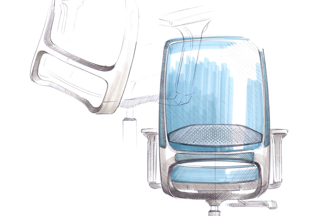 Comfordy, Drehstuhl, Netz, Slimpolster, swivel chair, mesh, slim upholstery, Ru´dy, Design, Taiwan, Sketch, Ideation