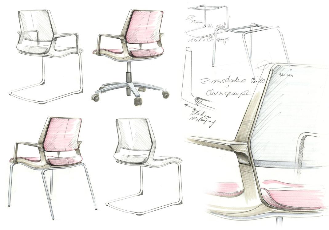 Sedus swing up, Besucherstuhl Familie, Freischwinger, Vierbeiner, Konferenz Stuhl, simple office chair, Designkonzept, Skizze