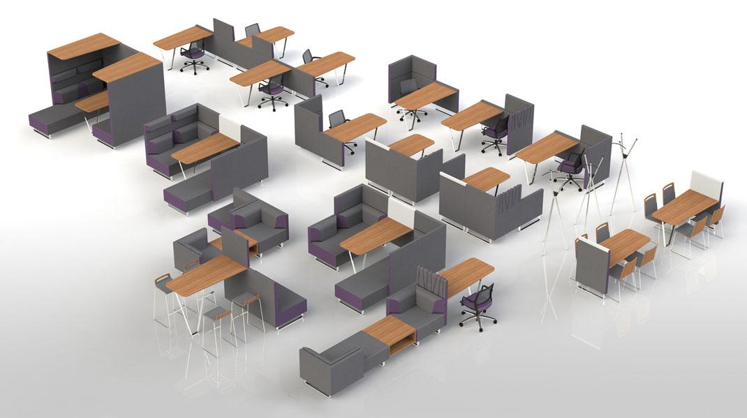 Sedus sopha ganzheitliches Entwurfskonzept mit Diner-, Stehtisch, Einzelarbeitsplatz- und Bencharbeitsplatzlösungen