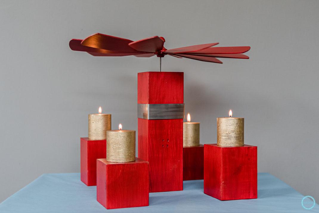 Weihnachtspyramide Größe L  Gesamthöhe 52 cm, Edelstahlverzierung, Leichtlauflager mit Alufassung