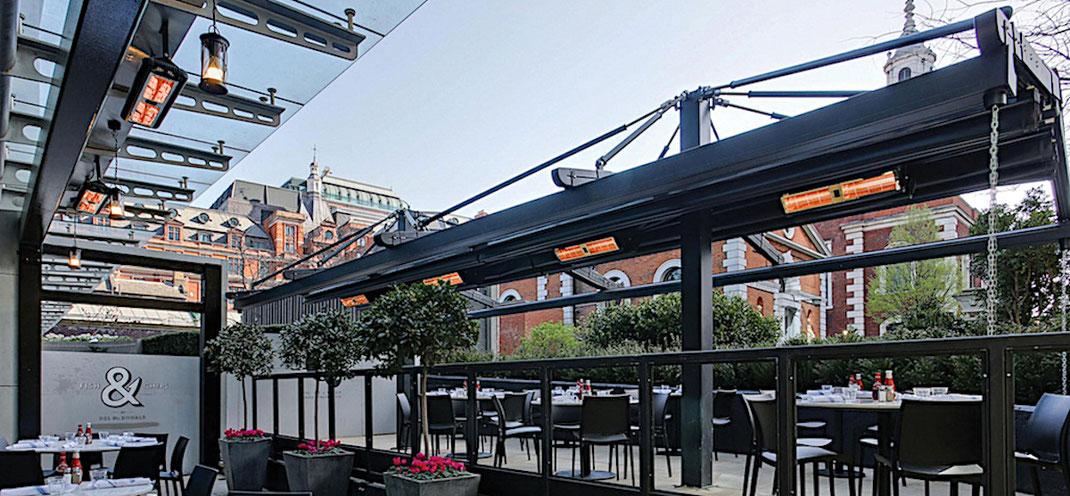 Wärmestrahler für Gastronomie Terrasse