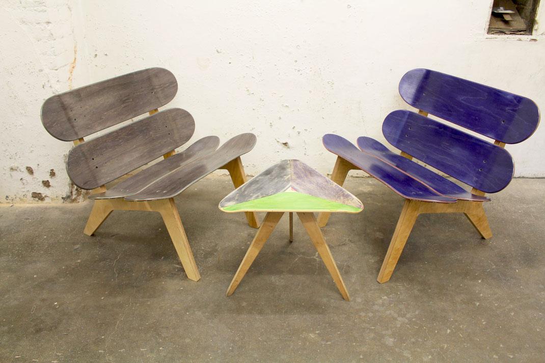 Individuelle Mietmöbel aus dem recycling Material gebrauchtes Skateboard. Möbel mieten für spezielle Events und Messen. Designmöbel für deinen Anlass.