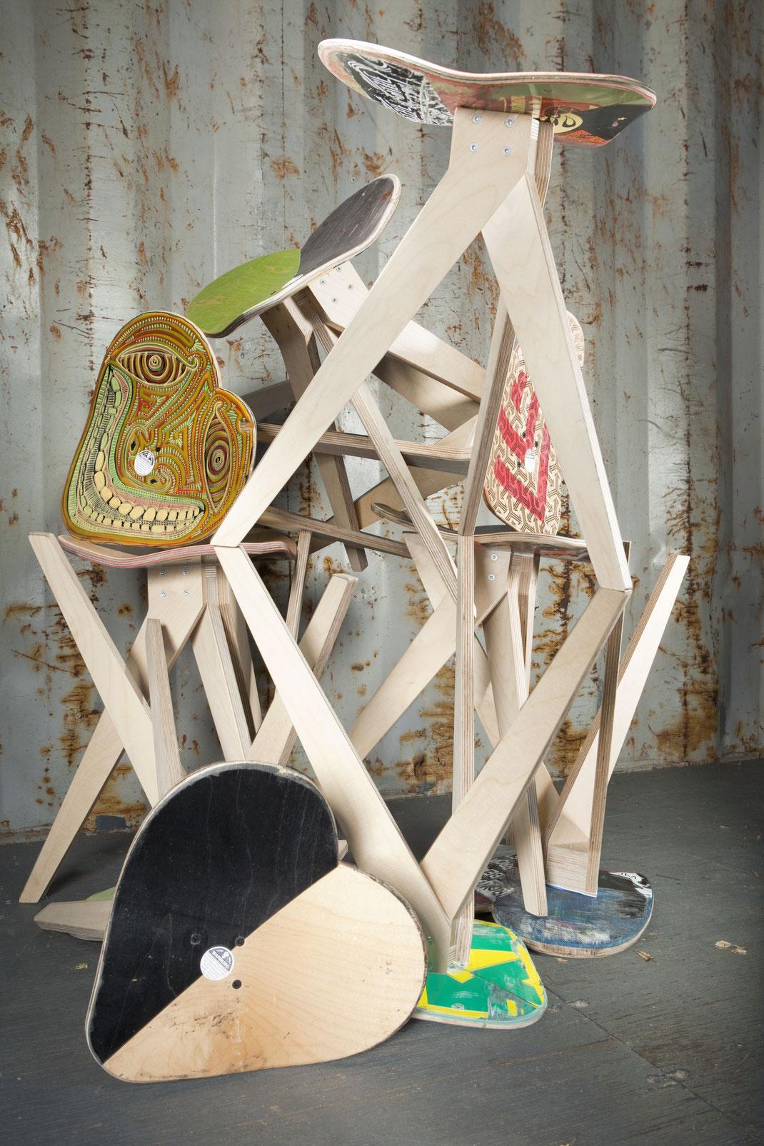 skateboard chair in a garage